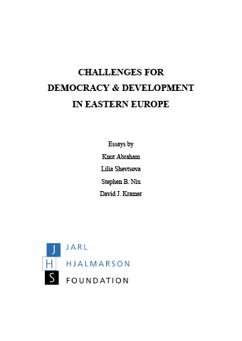 Challenges for Democracy and development in Eastern Europe